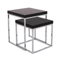 mirens - Prairie Nesting Tables - High Gloss Black Top with Chrome Legs