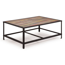 Sawyer coffee table by Mirens. Dark metal and naturally-finished elm wood is set apart by streaks of red, blue, yellow and green.