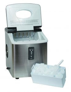 Emerson Portable Ice Maker IM92WCountertop Ice Maker ICE103 - open lid displaying capacity