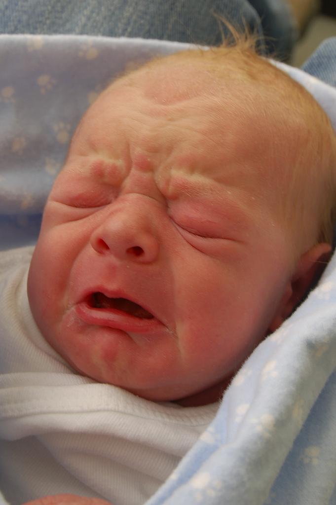 刚出生的宝宝表情变化多