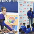 WNBA star participates in fitness clinics
