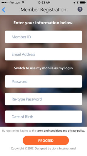 MyLion Member Registration screen