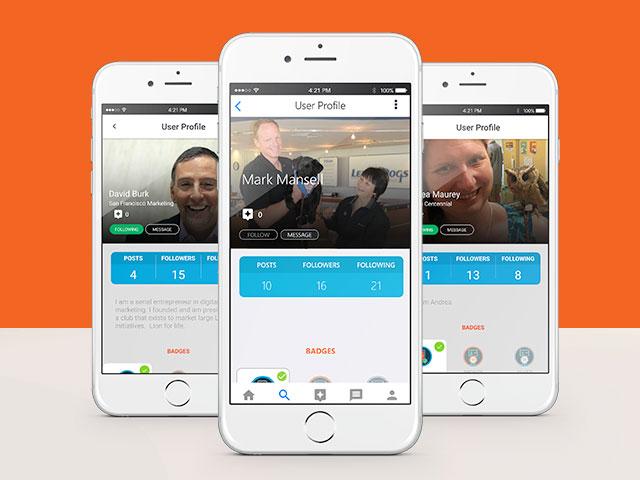 Tre telefoner som visar profilskärmar