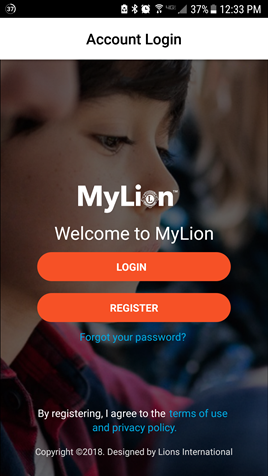 Tela de login do MyLion