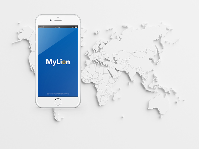 世界地図の上でMyLionを表示する電話