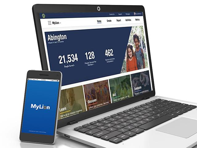 Ansichten der MyLion-App und -Website