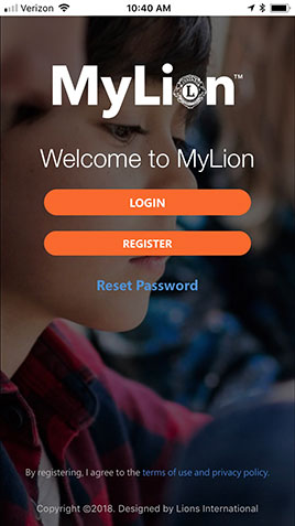 MyLion app welcome screen