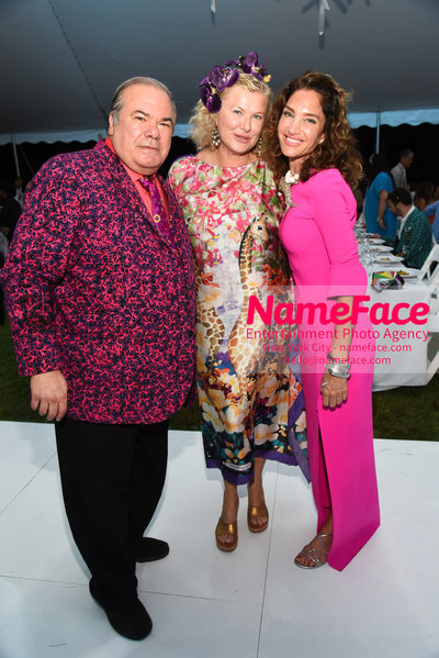 NY: 23rd Annual Watermill Center Summer Benefit & Auction Hunt Slonem, Lady Liliana Cavendish and Guest - NameFace Photo Agency New York City - hello@nameface.com - nameface.com - Photo by Steve Eichner