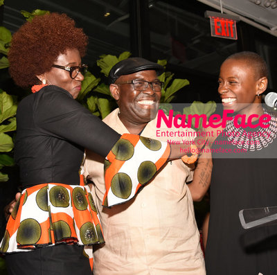 2018 AMREF Artball Honoring Toyin Ojih Odutola with the Amref Rees Visionary Award - Raising funds for healthcare in Africa  Toyin Ojih Odutola and her parents - NameFace Photo Agency New York City - hello@nameface.com - nameface.com - Photo by Daniela Kirsch