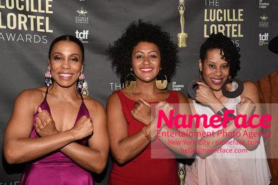 2018 Lucille Lortel Awards Arrivals Karen Pittman, Guest and Dominique Morisseau - NameFace Photo Agency New York City - hello@nameface.com - nameface.com - Photo by Daniela Kirsch