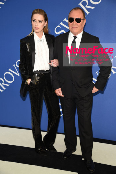 2018 CFDA Fashion Awards Amber Heard and Michael Kors - NameFace Photo Agency New York City - hello@nameface.com - nameface.com - Photo by Steve Eichner