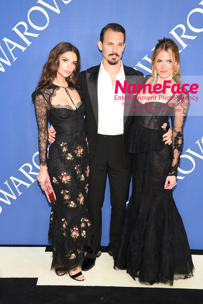 2018 CFDA Fashion Awards Emily Ratajkowski and Kristopher Brock, and Laura Vassar Brock - NameFace Photo Agency New York City - hello@nameface.com - nameface.com - Photo by Steve Eichner