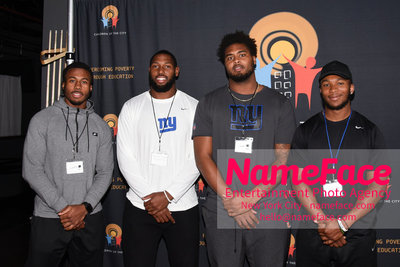 4th Annual Children Of The City Charity Bowl NY Giants Player, Garrett Dickerson, RJ Mcintosh and NY Giants Player - NameFace Photo Agency New York City - hello@nameface.com - nameface.com - Photo by Daniela Kirsch