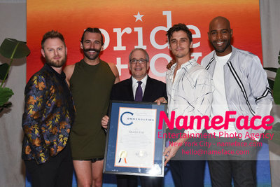 Celebrate Pride Month with MACY'S HERALD SQUARE at a LGBTQ Changemakers event in support of the work and mission of the Gay Mens Health Crisis Bobby Berk, Jonathan Van Ness, Scott Stringer, Antoni Porowski and Karamo Brown - NameFace Photo Agency New York City - hello@nameface.com - nameface.com - Photo by Daniela Kirsch