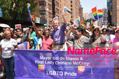 The 49th Annual NYC Pride March Chirlane McCray and Bill de Blasio - NameFace Photo Agency New York City - hello@nameface.com - nameface.com - Photo by Daniela Kirsch