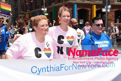 The 49th Annual NYC Pride March Christine Marinoni and Cynthia Nixon - NameFace Photo Agency New York City - hello@nameface.com - nameface.com - Photo by Daniela Kirsch