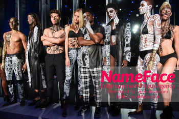 Belvedere Vodka Launches Laolu Senbanjo 2018 Limited Edition Bottle During New York Fashion Week Noland Funk, Martha Hunt and Laolu Senbanjo  - NameFace Photo Agency New York City - hello@nameface.com - nameface.com - Photo by Daniela Kirsch