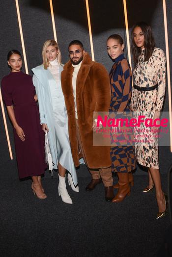 Boss - Front Row - February 2019 - New York Fashion Week Shanina Shaik, Devon Windsor, Maluma, Jasmine Sanders and Cindy Bruna - NameFace Photo Agency New York City - hello@nameface.com - nameface.com - Photo by Daniela Kirsch