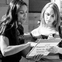 Rosario Dawson registering voters