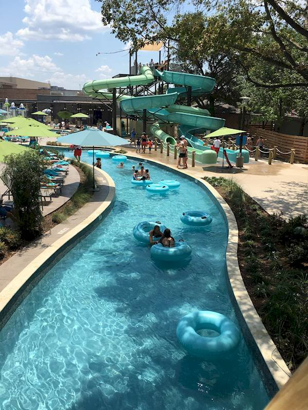 Spotlight on jadewaters upscale resort style pool at the for Hotels in dallas with indoor pools