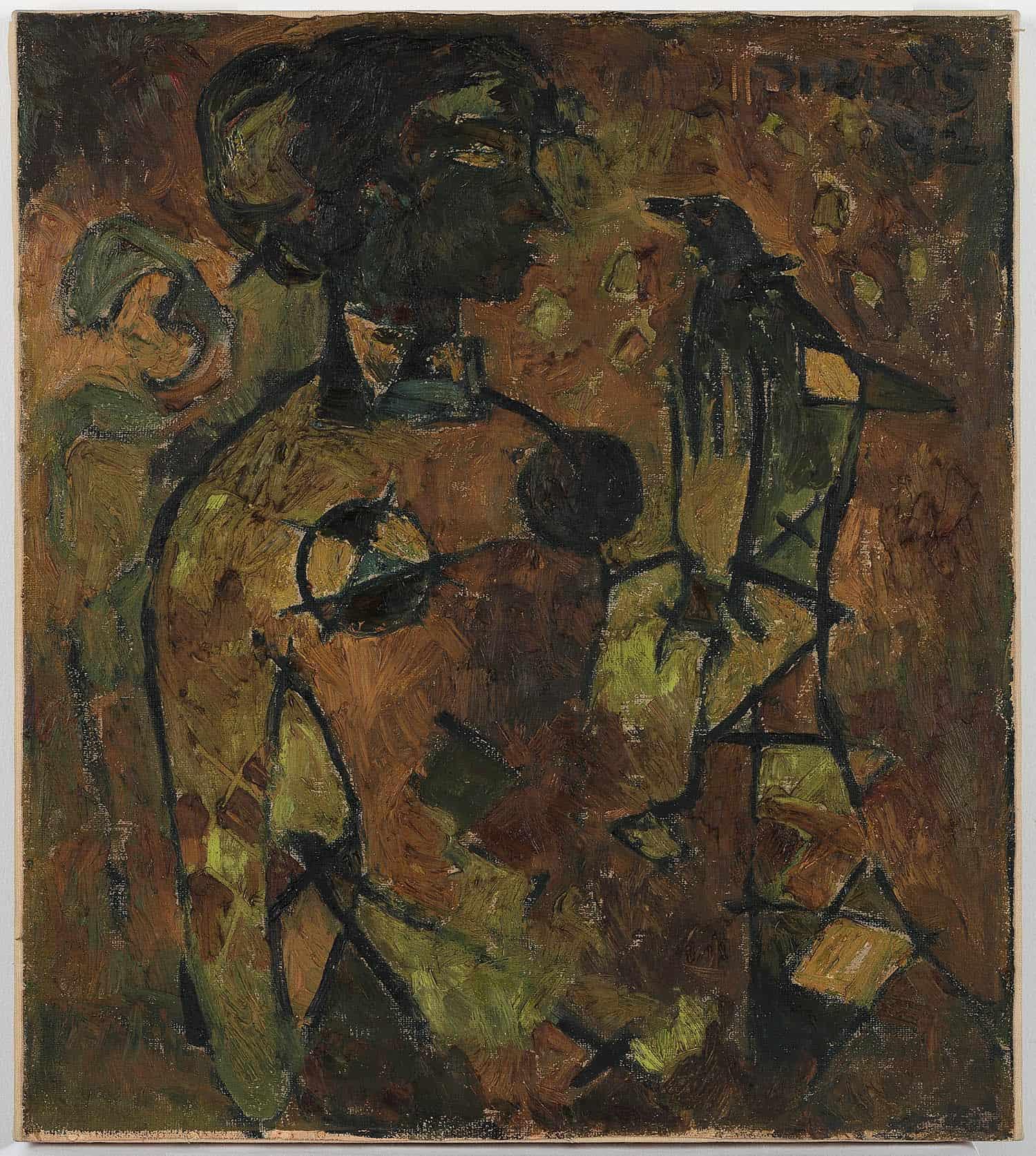 Lot 14 -V S GaitondeGÇÖs rare figurative painting of Oscar winner Bhanu Athaiya, painted in 1952, sold at INR 3 crores (USD 454,545)
