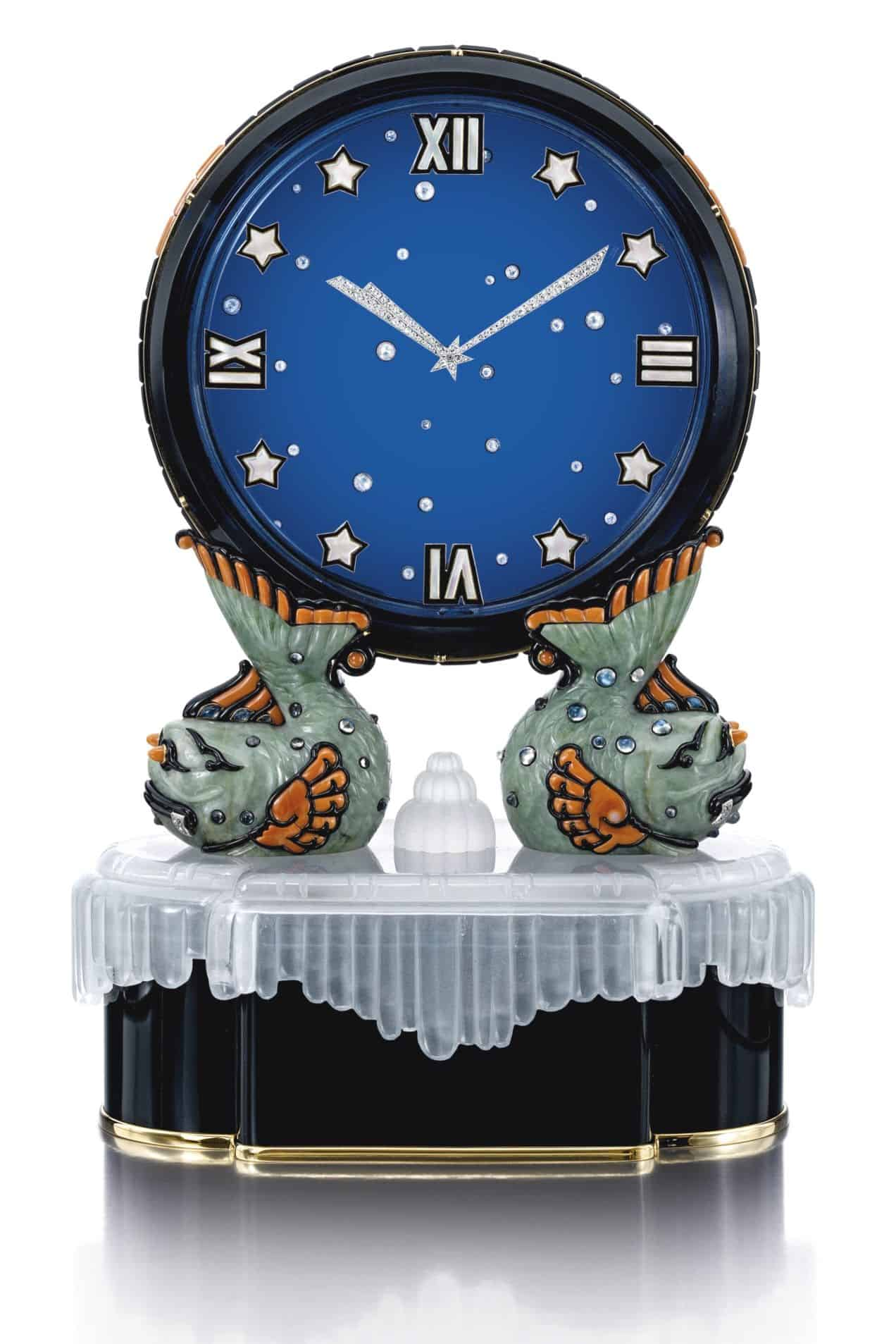 Lot 1790 - Superb and Rare Art Deco Gem Set and Diamond Mystery Clock, 'Le Ciel', Cartier, 1928