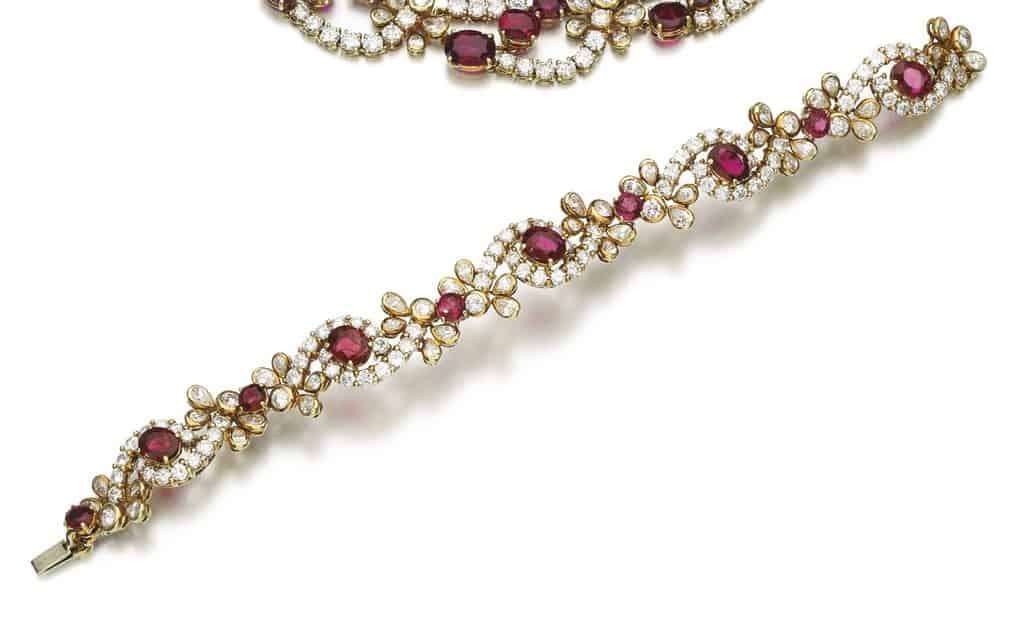 Lot 217 - Bracelet of the Ruby and Diamond Parure by Faraone