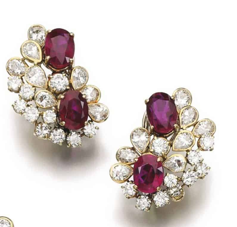 Lot 217 - Ear-Clips of Ruby and Diamond Parure by Faraone