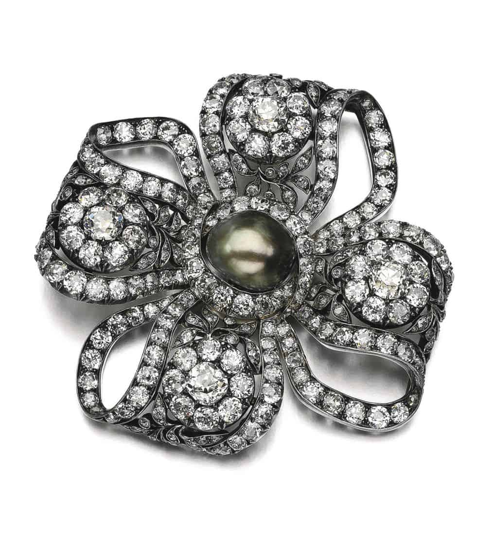 Lot 27 - Natural Pearl and Diamond Jewel, Late 19th Century