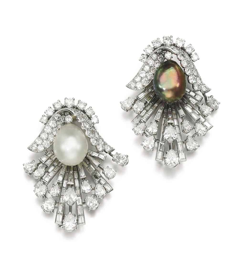 Lot 152 - Pair of Natural Pearl and Diamond Brooches