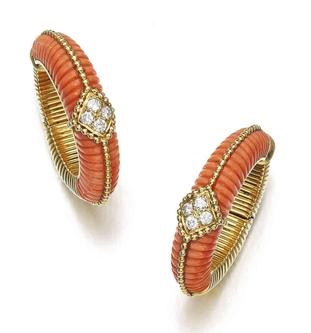 Lot 204 - Pair of Coral and Diamond Earrings, Van Cleef & Arpels, 1970s