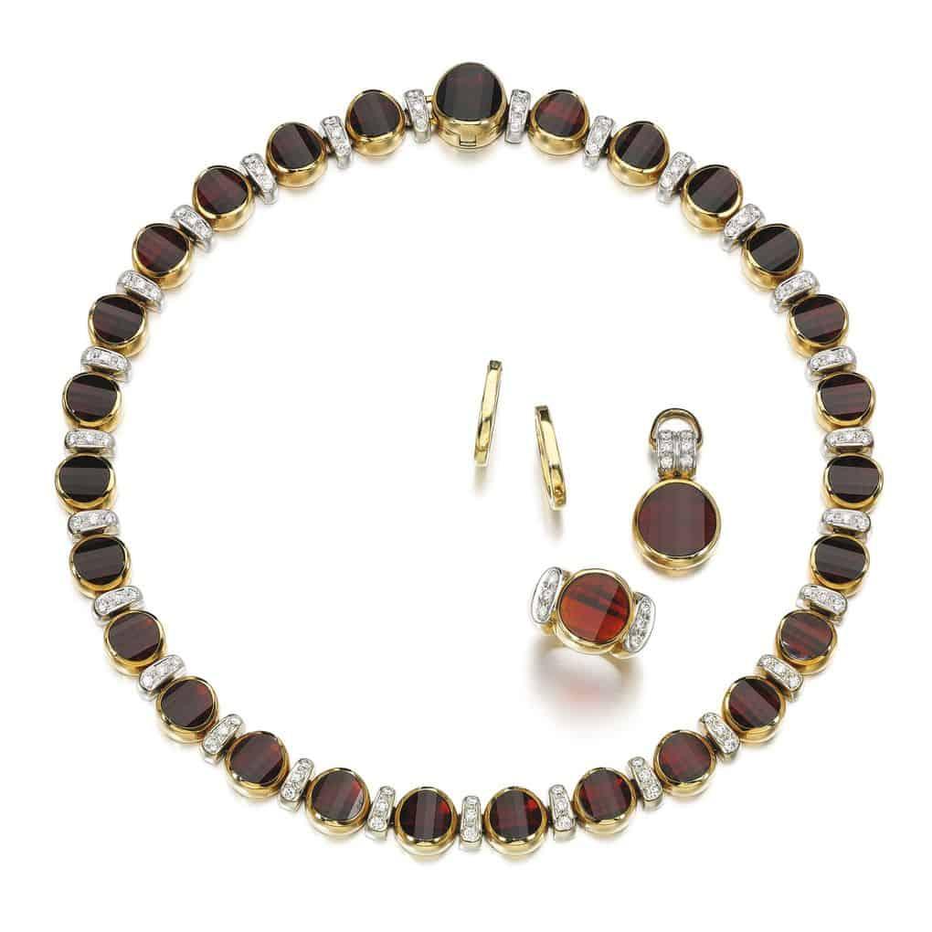 Lot 198 - Garnet and Diamond Demi-Parure and Pair of Earrings, Pomellato