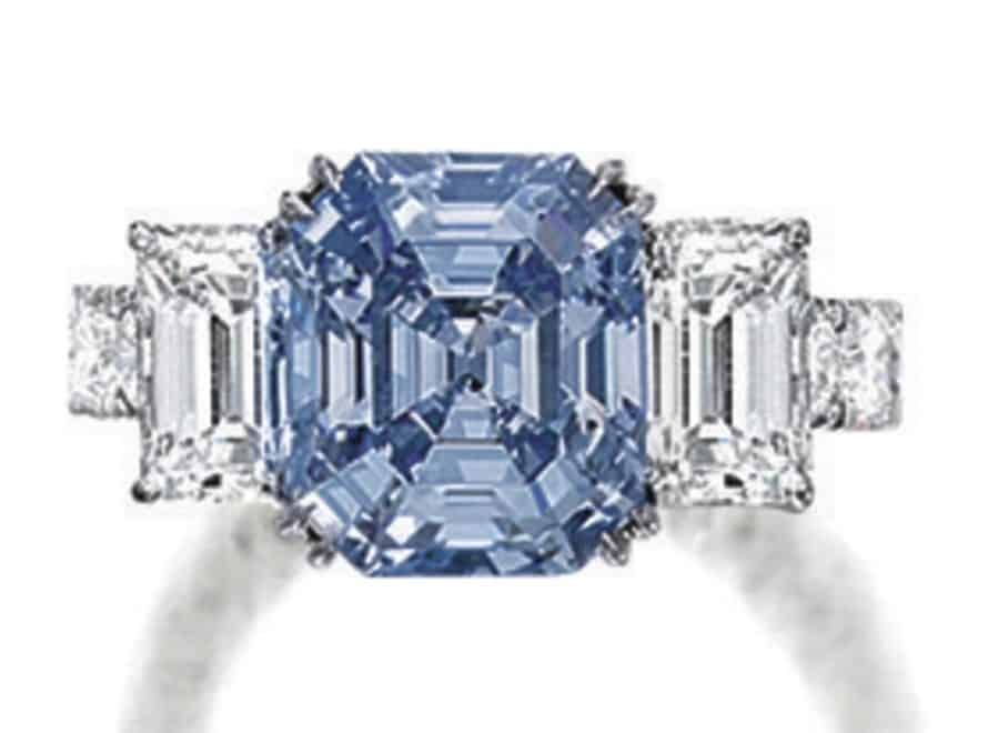 Lot 1784 - Very Fine Fancy Intense Blue Diamond and Diamond Ring