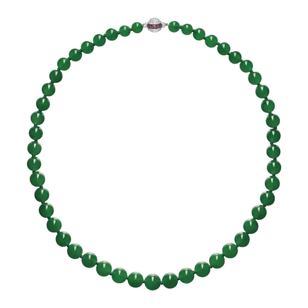 Lot 1700 - Important Jadeite Bead, Diamond and Ruby Necklace