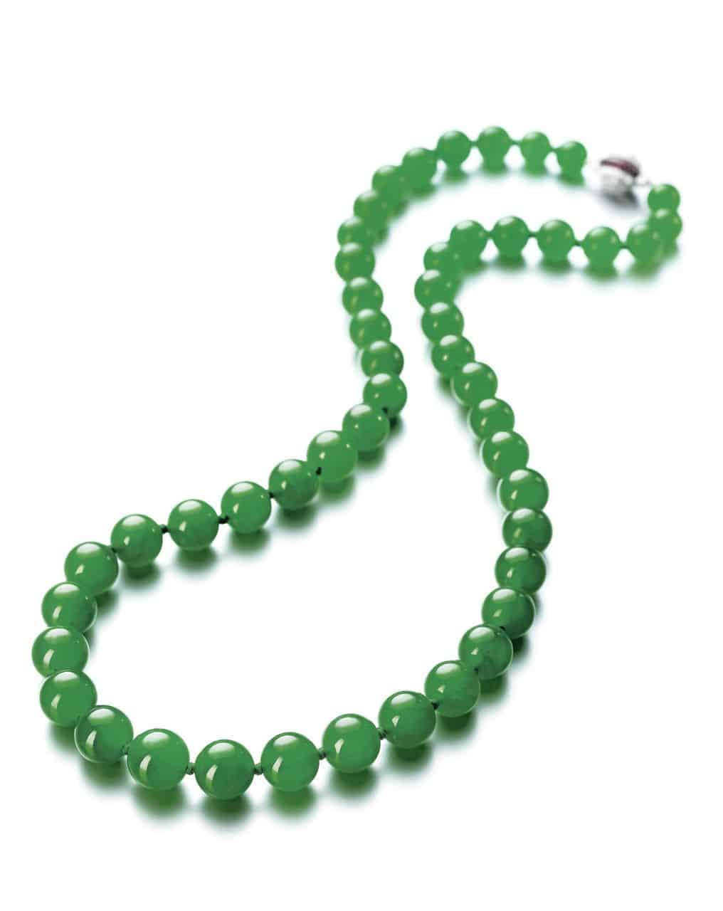 Lot 1700 - Another View of the Important Jadeite Bead, Diamond and Ruby Necklace