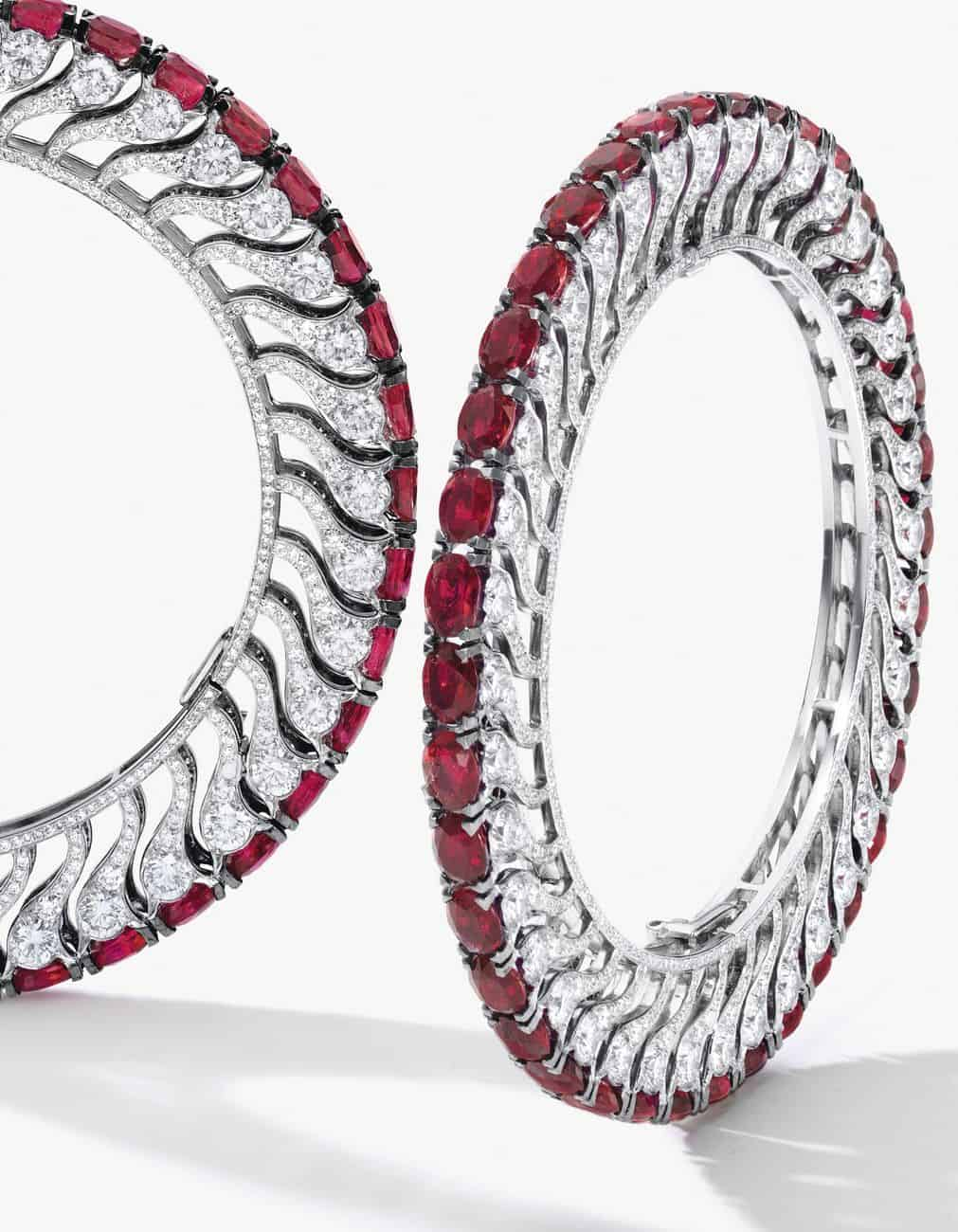 Lot 1707 - Another View of the Unique Pair of Ruby and Diamond Bangles, BHAGAT