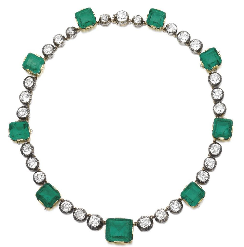 Attractive emerald and diamond necklace, late 19th century and later