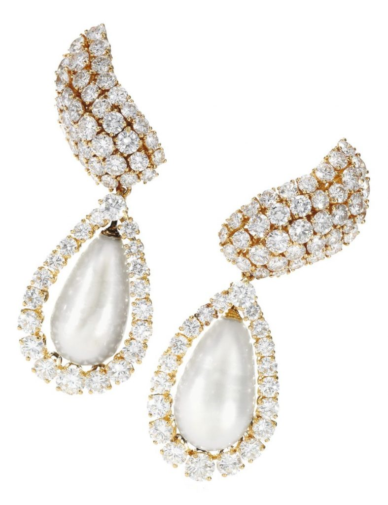 Lot 363 - Pair of important natural pearl and diamond pendent ear clips, Alexandre Reza