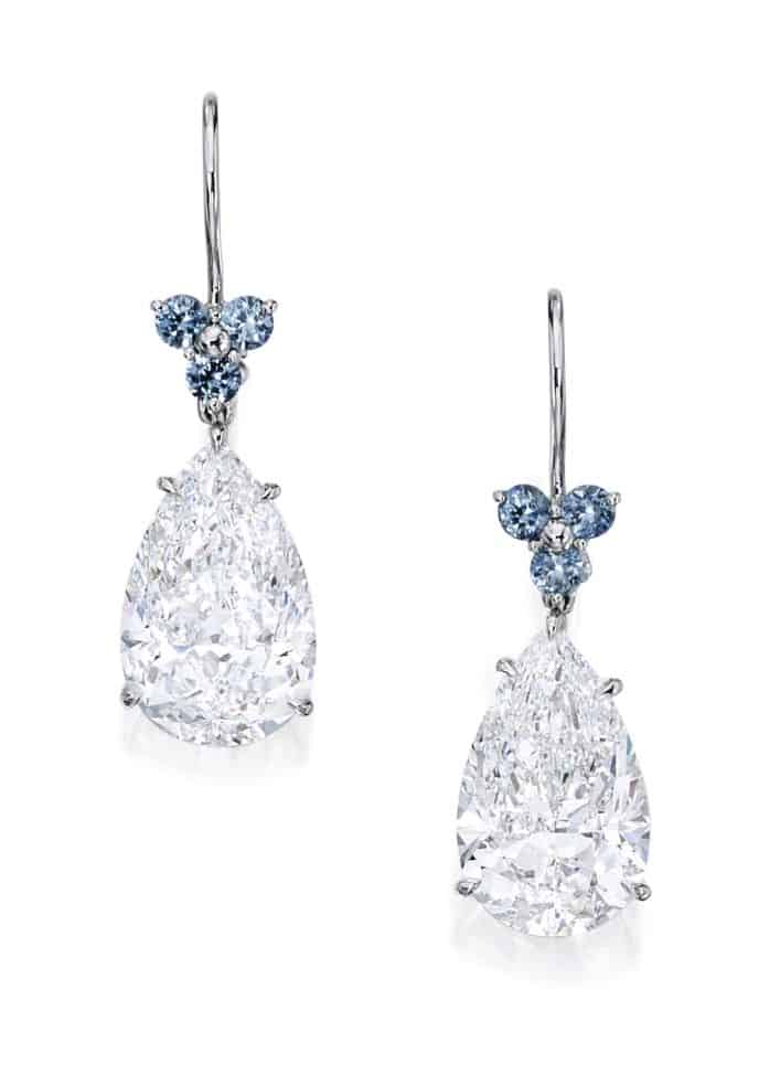 Lot 51 - Magnificent Pair of Platinum, Diamond and Sapphire Earrings