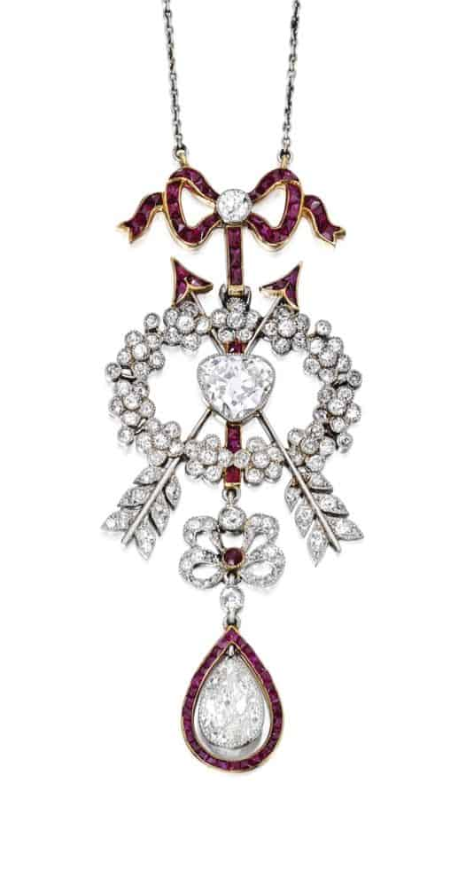 Lot 65 -Platinum, Gold, Diamond and Ruby Pendant-Necklace, Cartier