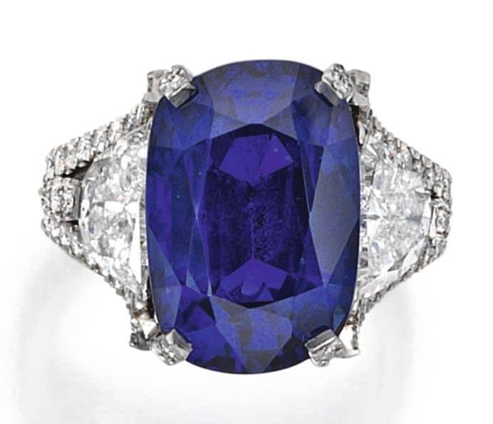 Lot 60 - Platinum, Sapphire and Diamond Ring