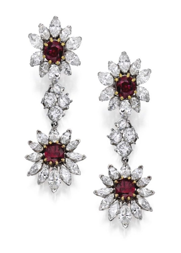 Lot-253 - The Pair of Pendant Earclips of the Suite of Platinum, Gold, Ruby and Diamond Jewelry