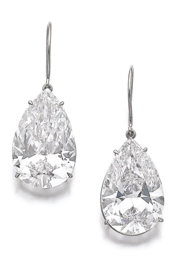 Lot 370 - Pair of fine diamond earrings
