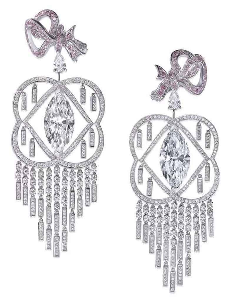 LOT 227 - LA VIE BOHÈME - A PAIR OF DIAMOND AND COLOURED DIAMOND CHANDELIER EARRINGS, BY BOEHMER ET BASSENGE