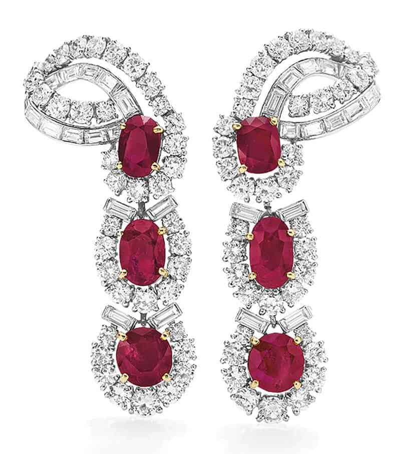 LOT 263 - A PAIR OF RUBY AND DIAMOND EARRINGS, BY CARTIER