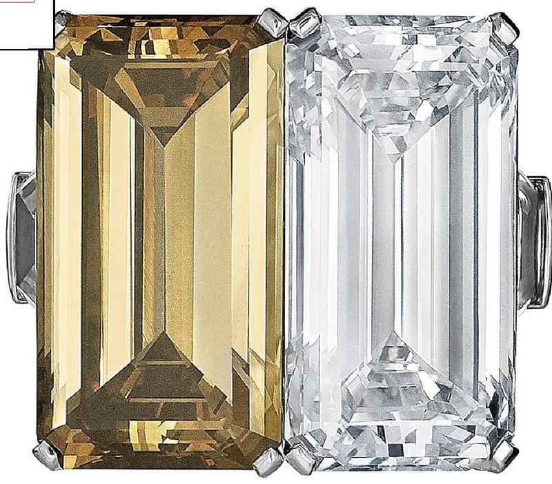 LO 247 - A COLOURED DIAMOND AND DIAMOND RING