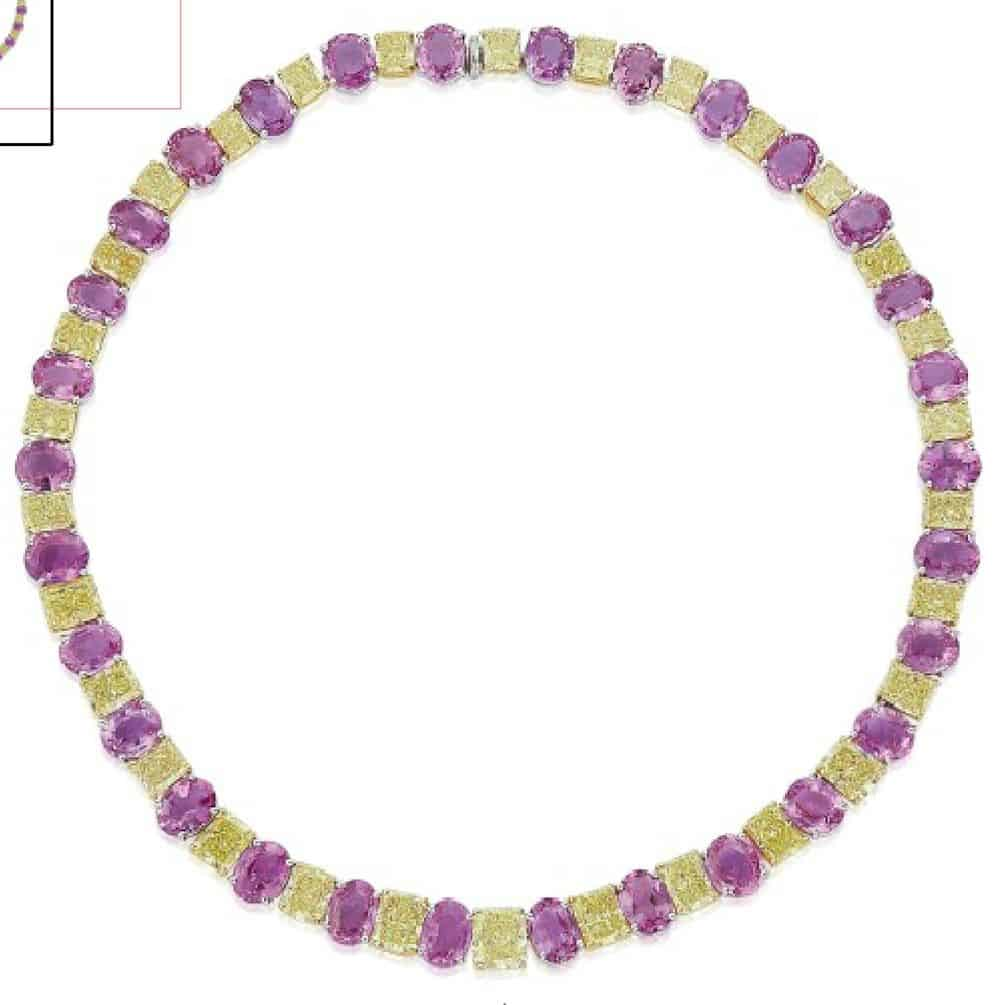 Lot 176 - A COLOURED DIAMOND AND COLOURED SAPPHIRE RIVIÈRE NECKLACE AND EARRING SUITE, BY GRAFF