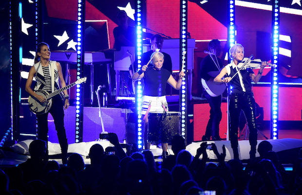 CINCINNATI, OH - JUNE 01:  Emily Strayer, Natalie Maines, and Martie Maguire of the Dixie Chicks perform onstage during the DCX World Tour MMXVI Opener on June 1, 2016 in Cincinnati, Ohio.  (Photo by Kevin Mazur/Getty Images for PMK)