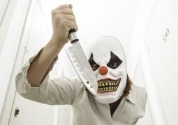 Psychotic clown inside hospital, halloween