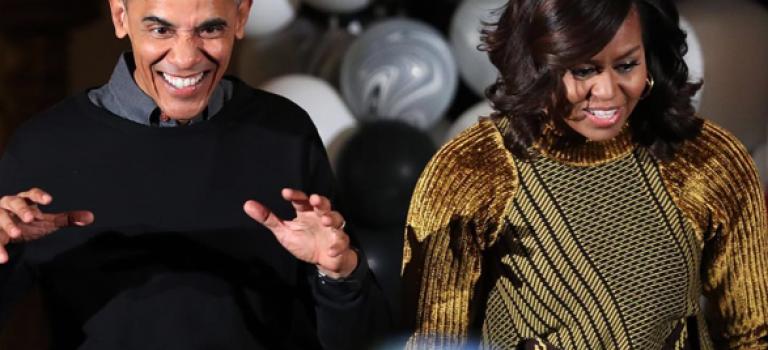 奥巴马最後一個白宮萬聖節,装扮的倒是很可愛啊